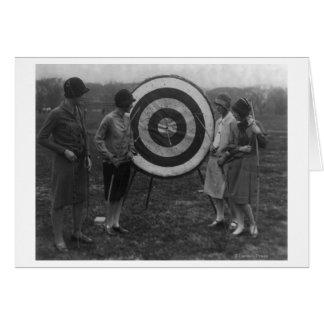 Women examining Archery Target Photograph Greeting Card