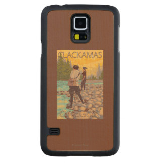 Women Fly Fishing - Clackamas, Oregon Maple Galaxy S5 Slim Case