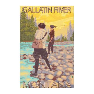 Women Fly Fishing - Gallatin River, Montana Canvas Print