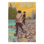 Women Fly Fishing - Glacier National Park, MT Posters