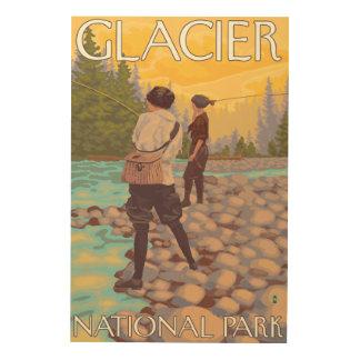 Women Fly Fishing - Glacier National Park, MT Wood Print