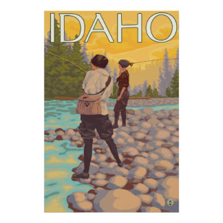 Women Fly Fishing - Idaho Poster