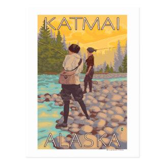 Women Fly Fishing - Katmai, Alaska Postcard