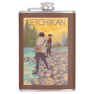 Women Fly Fishing - Ketchikan, Alaska Hip Flask