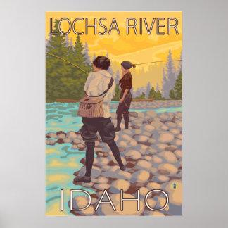Women Fly Fishing - Lochsa River, Idaho Poster