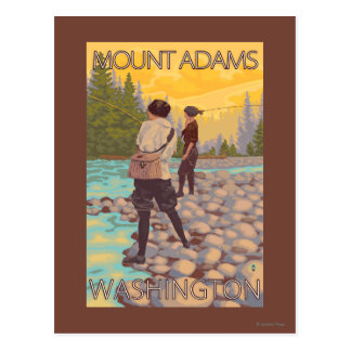 Women Fly Fishing - Mount Adams, Washington Postcard