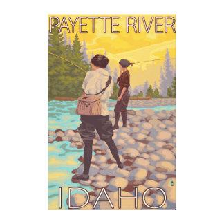 Women Fly Fishing - Payette River, Idaho Canvas Print