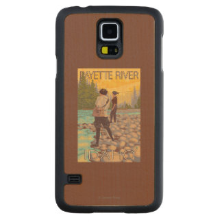 Women Fly Fishing - Payette River, Idaho Carved Maple Galaxy S5 Case