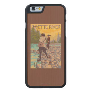 Women Fly Fishing - Payette River, Idaho Carved® Maple iPhone 6 Slim Case