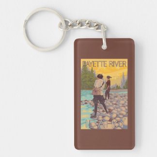 Women Fly Fishing - Payette River, Idaho Double-Sided Rectangular Acrylic Key Ring