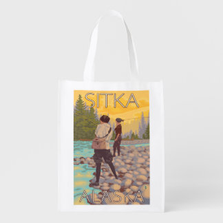 Women Fly Fishing - Sitka, Alaska Reusable Grocery Bag