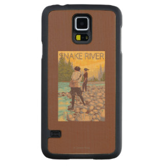 Women Fly Fishing - Snake River, Idaho Carved Maple Galaxy S5 Case
