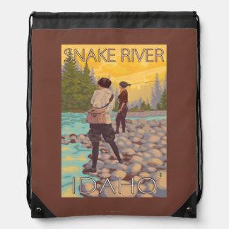Women Fly Fishing - Snake River, Idaho Drawstring Bag