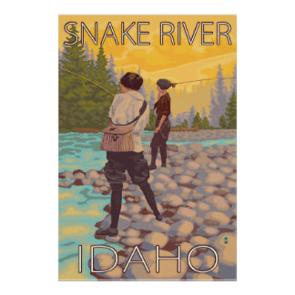 Women Fly Fishing - Snake River, Idaho Poster