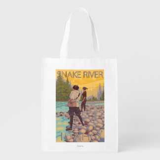Women Fly Fishing - Snake River, Idaho Reusable Grocery Bag