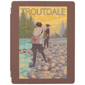 Women Fly Fishing - Troutdale, Oregon iPad Cover