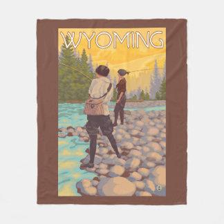 Women Fly Fishing - Wyoming Fleece Blanket