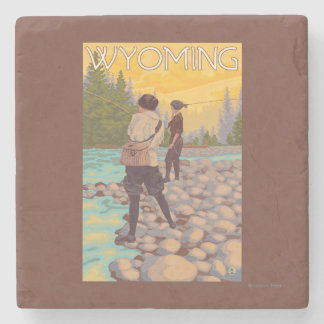 Women Fly Fishing - Wyoming Stone Coaster