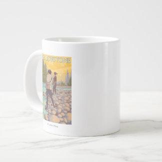 Women Fly Fishing - Yellowstone National Park Large Coffee Mug