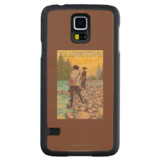 Women Fly Fishing - Yellowstone National Park Maple Galaxy S5 Slim Case