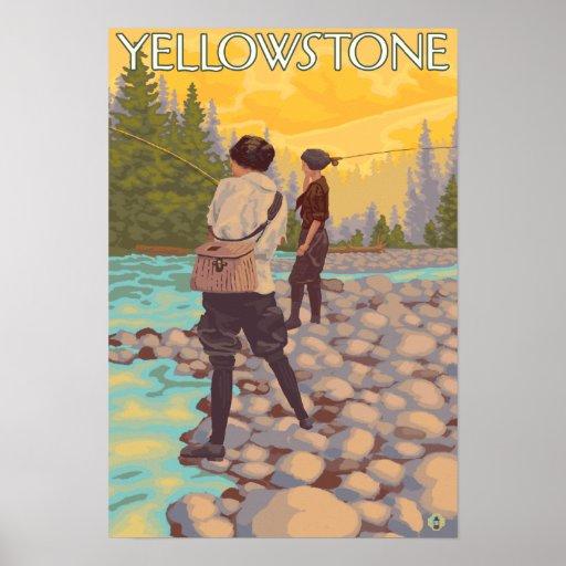 Women Fly Fishing - Yellowstone National Park Print