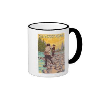 Women Fly Fishing - Yellowstone National Park Ringer Mug