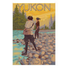 Women Fly Fishing - Yukon, Alaska Poster