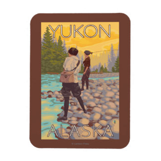 Women Fly Fishing - Yukon, Alaska Rectangular Photo Magnet