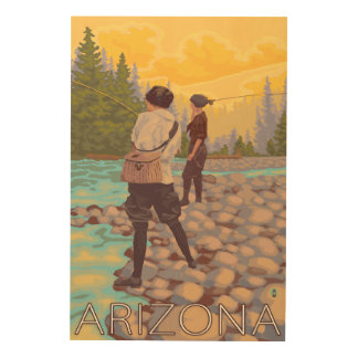 Women Fly FishingArizona Wood Wall Art