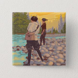 Women Fly FishingIdahoVintage Travel Poster 15 Cm Square Badge
