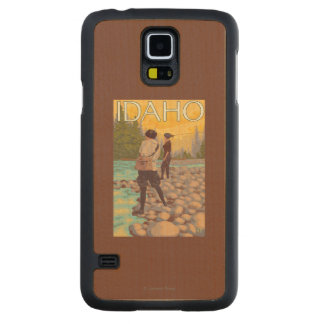 Women Fly FishingIdahoVintage Travel Poster Carved Maple Galaxy S5 Case