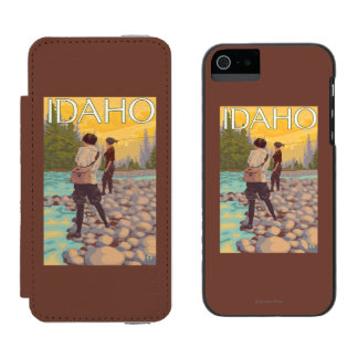 Women Fly FishingIdahoVintage Travel Poster Incipio Watson™ iPhone 5 Wallet Case