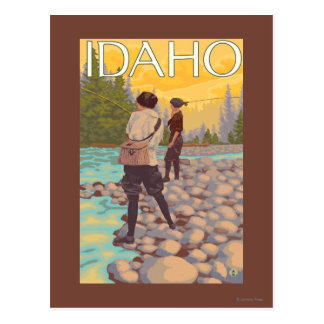 Women Fly FishingIdahoVintage Travel Poster Postcard