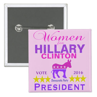 Women for Hillary Clinton President Think Pink 15 Cm Square Badge