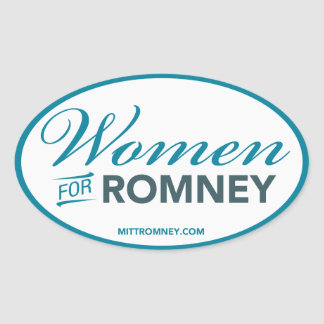 Women For Mitt Romney 2012 (White Oval Sticker) Oval Sticker