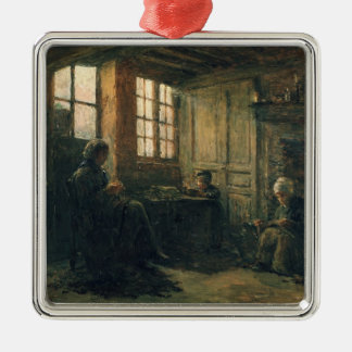 Women Fraying Linen, Honfleur, 1877 Silver-Colored Square Decoration