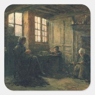 Women Fraying Linen, Honfleur, 1877 Square Sticker