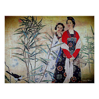 Women From Tang Dynasty Chinese Vintage Art Poster