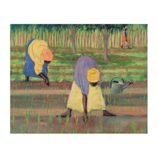 Women Gardening 2005 Wood Print