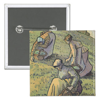 Women Gathering Mushrooms, from 'Travaux des Champ 15 Cm Square Badge