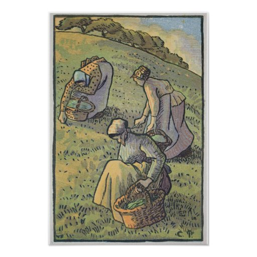 Women Gathering Mushrooms, from 'Travaux des Champ Poster