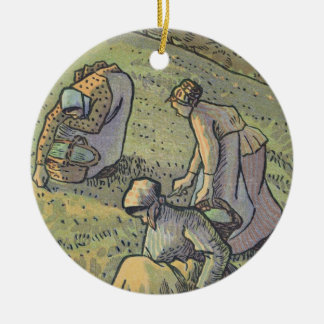 Women Gathering Mushrooms, from 'Travaux des Champ Round Ceramic Decoration
