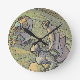 Women Gathering Mushrooms, from 'Travaux des Champ Round Clock