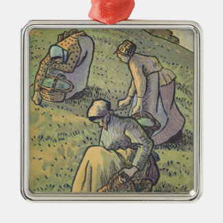 Women Gathering Mushrooms, from 'Travaux des Champ Silver-Colored Square Decoration