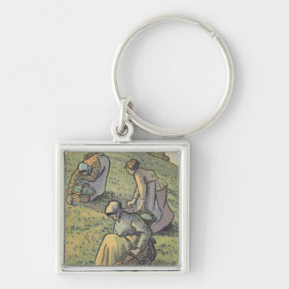 Women Gathering Mushrooms, from 'Travaux des Champ Silver-Colored Square Key Ring