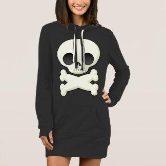 Women Hoodie Dress with Big Skull Print