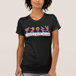 women - I love figure skating, bright rainbow Tshirt