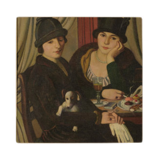 Women in a Cafe, c.1924 Maple Wood Coaster