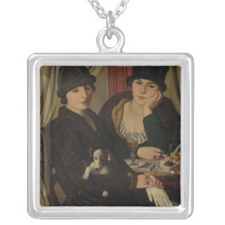 Women in a Cafe, c.1924 Silver Plated Necklace