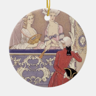 Women in a Theater Box, illustration from 'Les Lia Round Ceramic Decoration